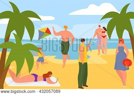 Summer Sea Beach With Sand Shore, Vector Illustration, Flat Happy Man Woman Character Relax At Ocean