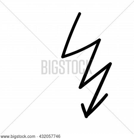 Black Zigzag Arrow Doodle. Lightning Bolt Icon Handdrawn Vector Illustration Element
