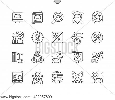 Video Game. Weapon, Shotgun. Gaming. Achievements. Game Resources. Pixel Perfect Vector Thin Line Ic