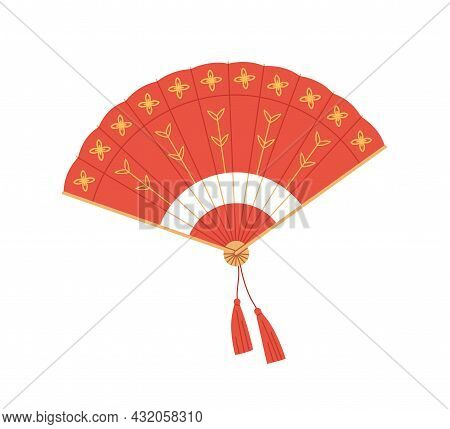 Chinese Traditional Folding Hand Fan From Red Silk. Open Foldable Handheld Souvenir With Oriental Or