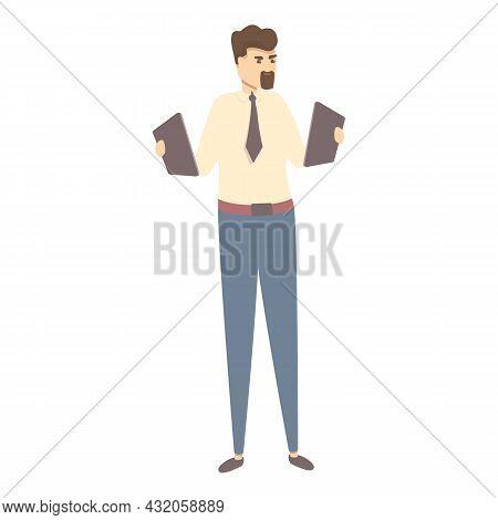 Manager Seeking Job Icon Cartoon Vector. Work Search. Business Employee