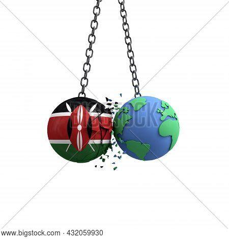 Kenya Flag Ball Hits Planet Earth. Environmental Impact Concept. 3d Render