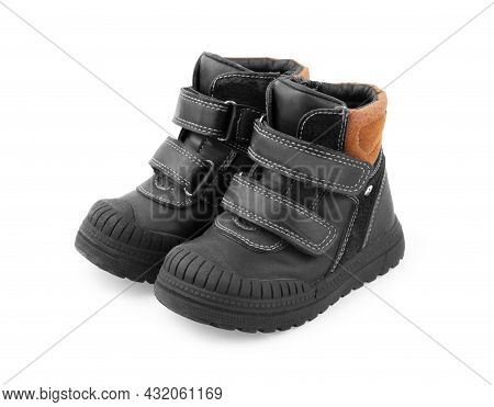 Isolated Dark Children S Spring And Autumn Leather Shoes On A White Background