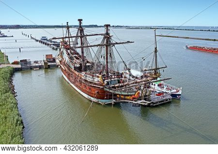 Aerial from a traditional sailing ship in the harbor from Amsterdam Netherlands