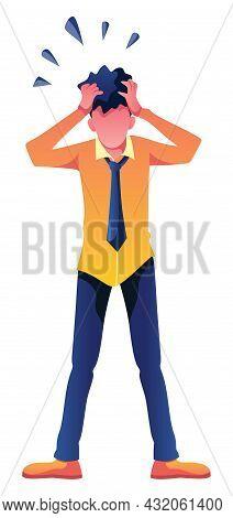 Illustration Of Shocked Man Holding His Head.