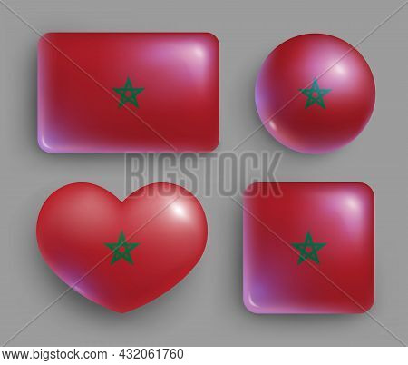 Set Of Glossy Buttons With Morocco Country Flag. Northwest Africa Country National Flag, Shiny Geome