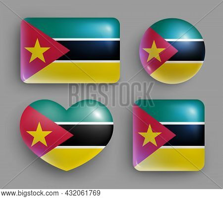 Set Of Glossy Buttons With Mozambique Country Flag. South Eastern Africa Republic National Flag, Shi