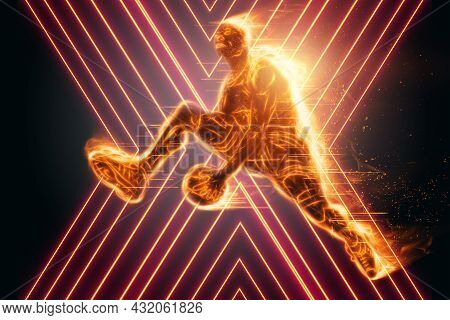 Fiery Image Of A Professional Basketball Player Jumping With A Ball. Creative Collage, Sports Flyer.