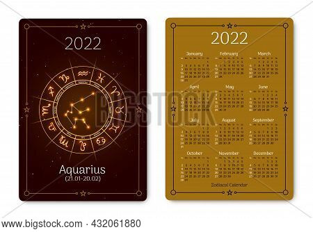 Aquarius Calendar Of Pocket Size With Zodiac Sign. 2022 Year Double Sided Vertical Calendar With Wat