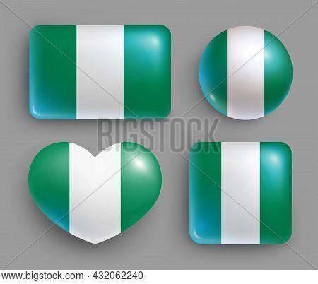 Set Of Glossy Buttons With Nigeria Country Flag. African Republic National Flag Shiny Geometric Shap