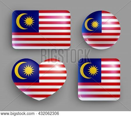 Set Of Glossy Buttons With Malaysia Country Flag. South East Asia Country National Flag, Shiny Geome