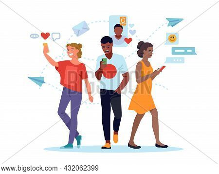 Social Media People. Young Women And Man Using Social Networks, Mobile Internet Messaging, Comments