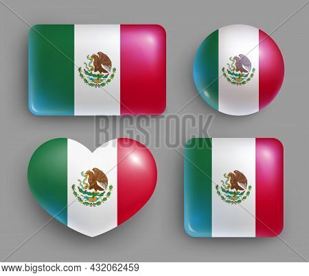 Set Of Glossy Buttons With Mexico Country Flag. North America Country National Flag, Shiny Geometric