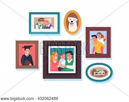 Family Photos. Kids And Parents Framed Portraits, Happy Relatives, Moms And Dads, Grandparents, Son