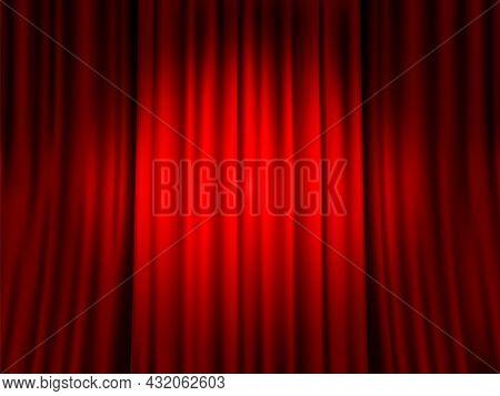 Closed Red Curtain. Spotlight Round Spot On Red Velvet Veil Background, Drama Theater, Velours Texti