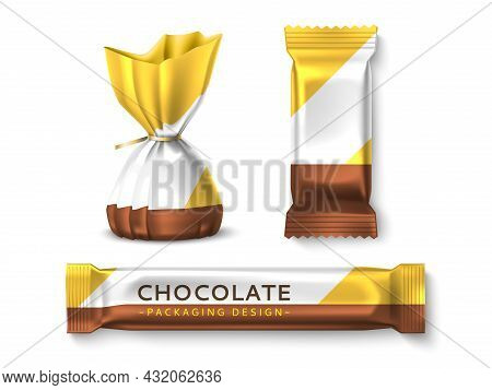 Candies Packaging Design. Realistic Sweets Wrappers Mockups, Candy Truffle And Chocolate Bars, Brand