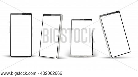 Realistic Phone White Mockup. Different Angles Perspective Telephone Template, 3d Mobile Device Mock