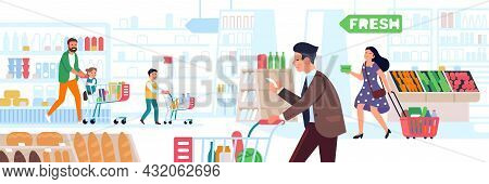 Supermarket People. Big Store Shopping, Many Characters With Carts And Baskets, Men, Women And Kids