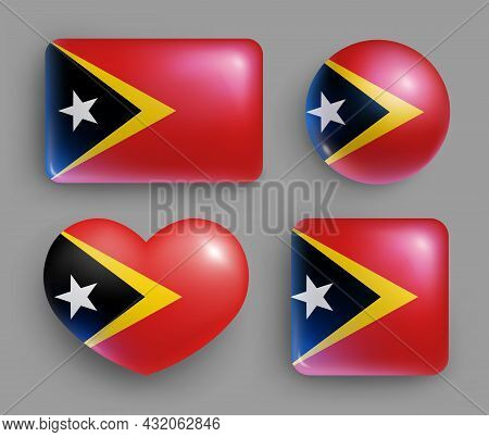 Set Of Glossy Buttons With East Timor Country Flag. Southeast Asia Country National Flag, Shiny Geom
