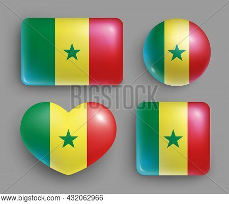 Set Of Glossy Buttons With Senegal Country Flag. Western Africa Country National Flag, Shiny Geometr
