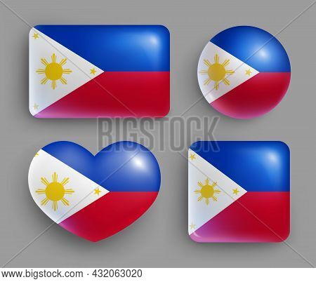Set Of Glossy Buttons Of Philippines Country Flag. South East Asia Country National Flag, Shiny Geom