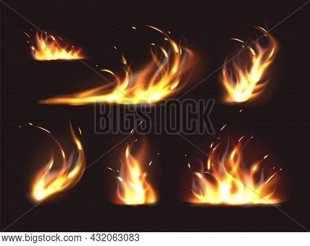 Flame Elements. Realistic Different Shapes Combustion, Isolated 3d Fires, Blazing Jet, Campfires And