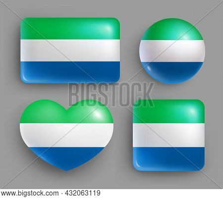 Glossy Buttons With Sierra Leone Country Flag Set. Western Africa Republic National Flag, Shiny Geom