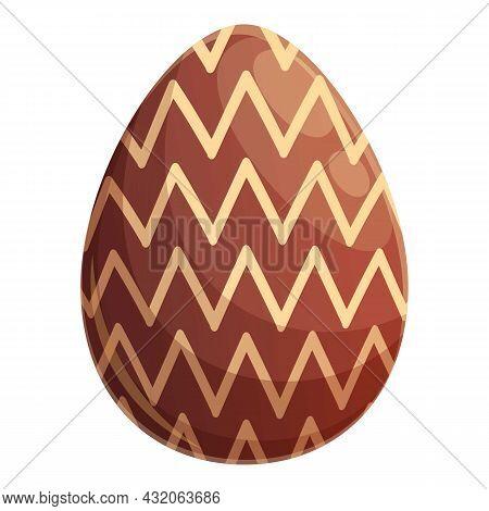 Zigzag Chocolate Egg Icon Cartoon Vector. Dark Candy. Caramel Egg