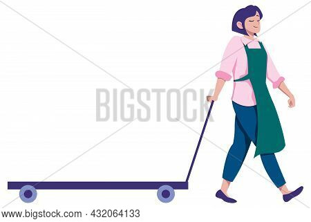 Cartoon Illustration Of Woman Pulling Cart With Your Product On It.