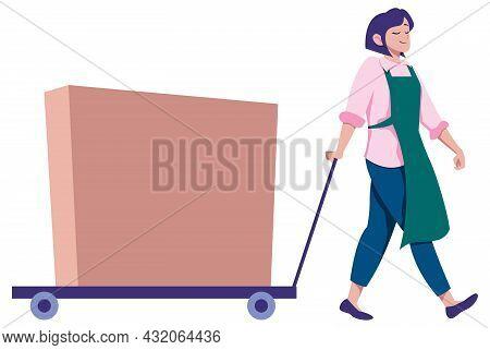 Cartoon Illustration Of Woman Pulling Cart With Cardboard Box On It.