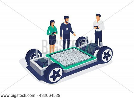 Electric Car Chassis Battery Platform Skateboard Module Pack Board. Automobile Engineers Working Wit