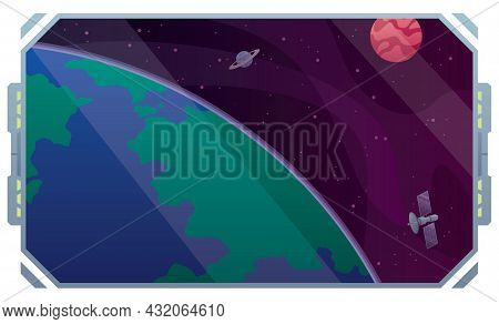 Conceptual Illustration With The Window Of A Space Station Or Spaceship Orbiting Around Planet Earth