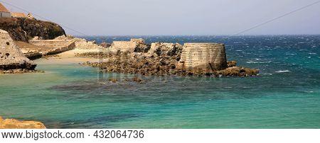 Very Windy Mediterranean Sea In Tarifa City Cadiz Andalusia Spain
