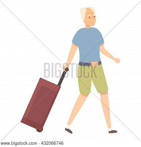 Grandpa Travel Bag Icon Cartoon Vector. Old Man. Person Travel