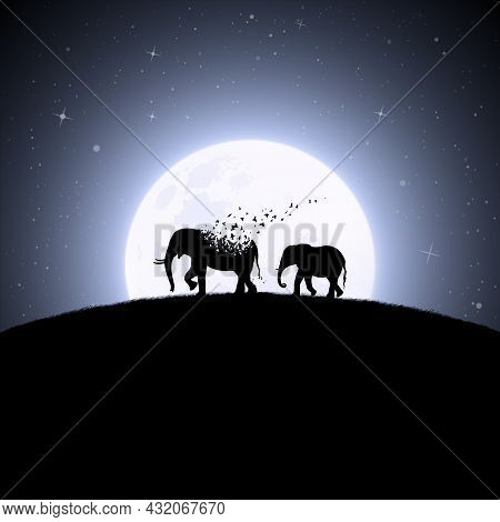 Elephants On Moonlight Night. Endangered Animal. Death And Afterlife