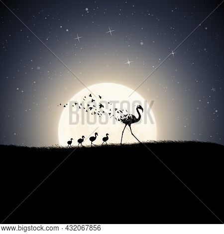 Flamingo Family, Moonlight Night. Endangered Bird. Death And Afterlife