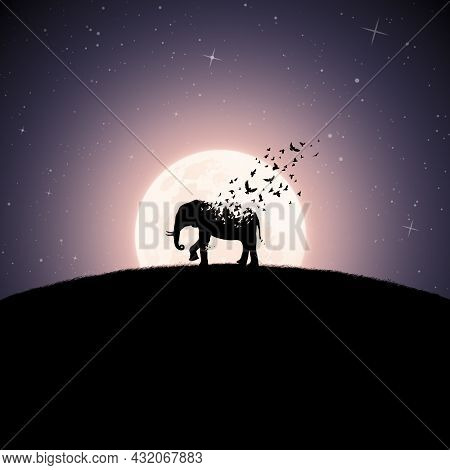 Elephant On Moonlight Night. Endangered Animal. Death And Afterlife