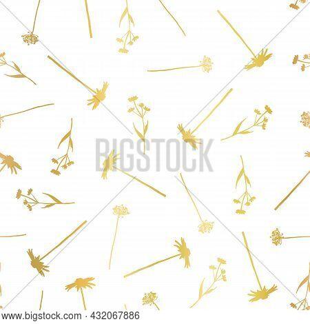 Floral Seamless Vector Pattern Metallic Gold Foil Effect. Golden Flowers On White Background Wild Gr