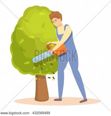 Chainsaw Tree Trimming Icon Cartoon Vector. Garden Hedge. Man Worker
