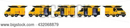 A Set Of Vans For An Online Parcel Delivery Service. Transport For Delivery Of Orders. Van Front And