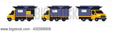 A Set Of Trucks For An Online Parcel Delivery Service. Transport For Delivery Of Orders. Truck Front
