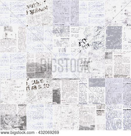 Newspaper Paper Grunge Newsprint Patchwork Seamless Pattern Background. Trendy Imitation Sewn Pieces