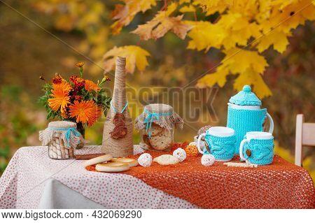 Table Prepared For Lunch In Autumn Nature, Picnic. Outdoors Picnic Close Up. Seasonal Concept