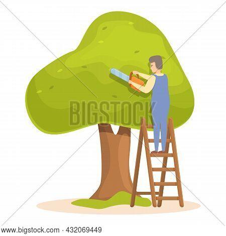 Tree Trimming Job Icon Cartoon Vector. Garden Hedge. Lawn Maintenance