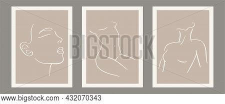 Trendy Contemporary Set Of Abstract Matisse Geometric Minimalist Artistic Hand Painted Woman Silhoue