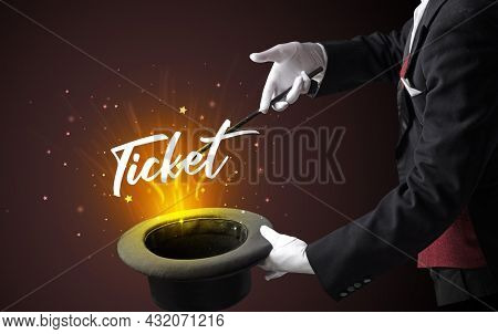 Old Magician is showing magic trick