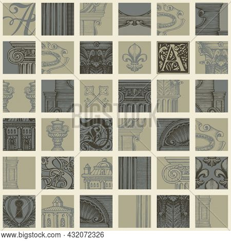 Hand-drawn Seamless Pattern In Vintage Style On Theme Of Ancient Architecture And Art. Vector Backgr