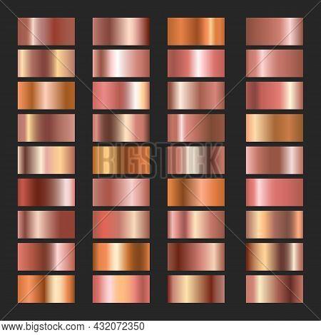 Copper Gradients. Pink Coppers Colors Vector Gradient Set, Rose Bronze Metal Backgrounds, Beige Nick
