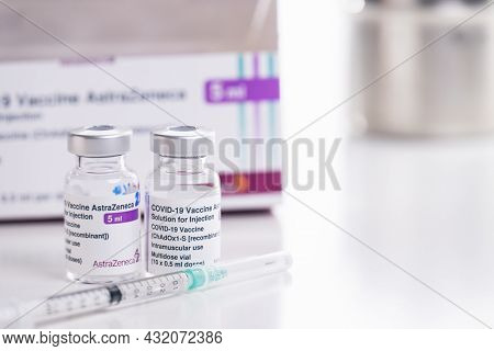 Thailand - Aug 27 , 2021 Close Up Of Astrazeneca Vaccine Vials Bottles For Stop Pandemic , Covid-19