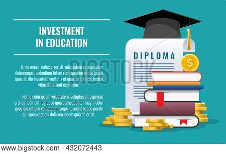 Student Education Investment. College Money Scholarship, Student Financial Saving Plan, Study Loan C